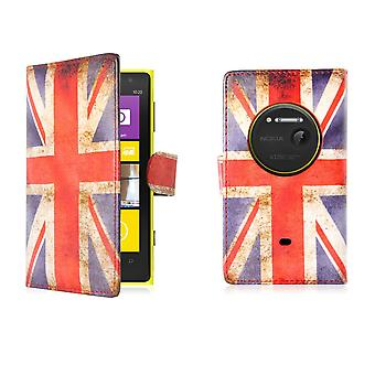 Design kirjan PU Nahkakotelo kattaa Nokia Lumia 1020 - Union Jack UK lippu
