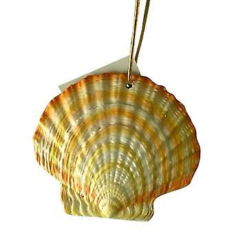 Tropical Beach Seashell Tiki Christmas Ornament Banded ORNShell04