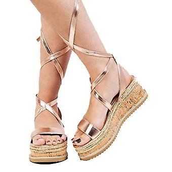 Schnüren Sie geflochtene Kork Keil flache Schuhe Sandalen Rose Gold
