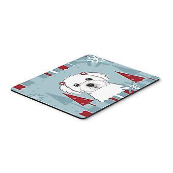 Tapis de souris maltaise de vacances d'hiver, manique ou un sous-plat