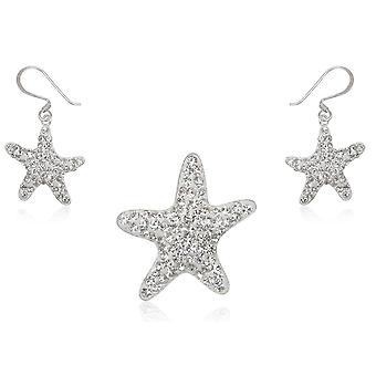 مجوهرات النجوم قلادة وأقراط الكريستال الأبيض والفضة 925