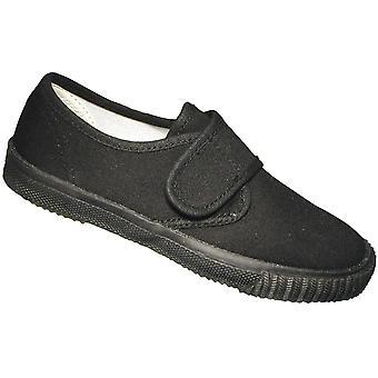 Mirak gutter tekstil Plimsoll Sneaker sko eske svart (stor)