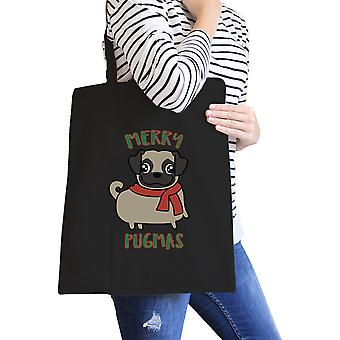 Merry Pugmas Pug Lover Gift Heavy Cotton Black Canvas Tote Washable