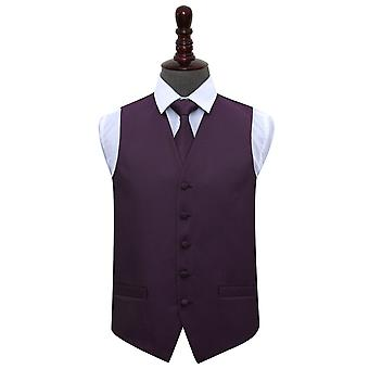 Cadbury Purple Greek Key Wedding Waistcoat & Tie Set