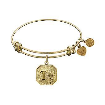 "Stipple Finish Brass Think Positive Angelica Bangle Bracelet, 7.25"""