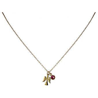 Ladies - collana - ciondoli - Angeli - Angelo custode - argento 925 - oro placcato - Ruby - Red - 1,3 cm