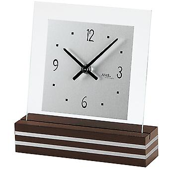 Table clock quartz painted Walnut color wood base aluminium application