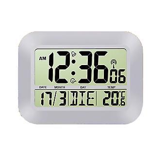 Настенные часы с календарем Snooze будильник и радио дисплей температуры контролируется серебро