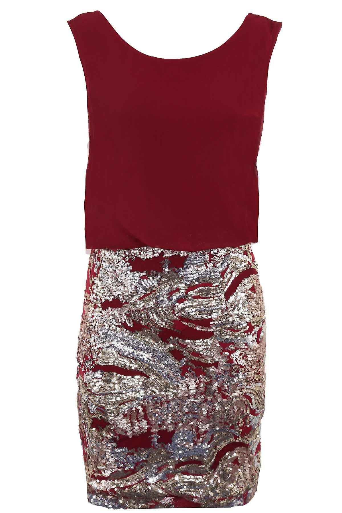 Ladies V Back Chiffon Sequin Skirt Slim Fitting Bodycon Women's Party Evening Dress