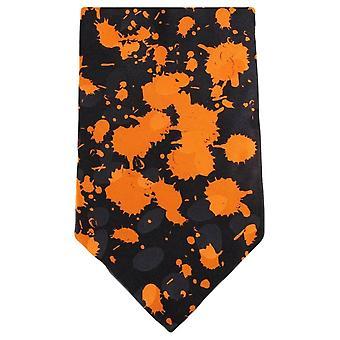 Knightsbridge Neckwear maling sprut Tie - svart/Orange