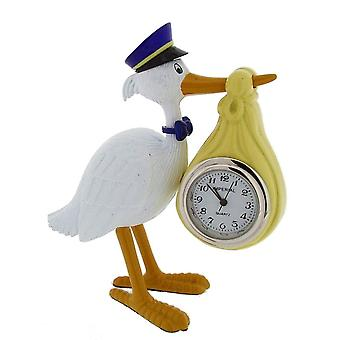 Gift Time Products Stork Carrying Baby Mini Clock - White/Gold