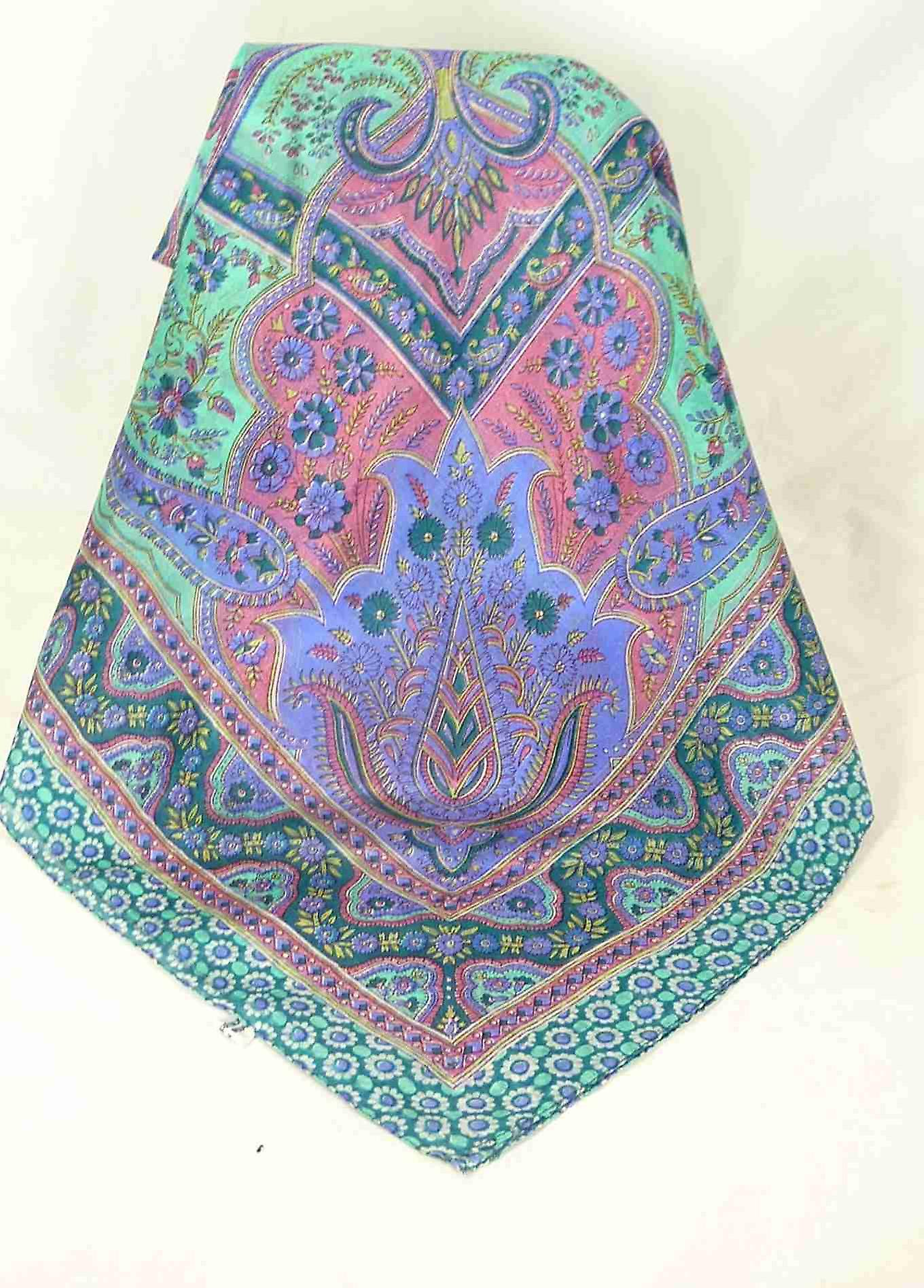 Mulberry Silk Traditional Square Scarf Koyna Teal by Pashmina & Silk