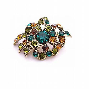 Multicolore spilla cristalli di olivina verde smeraldo Topaz antico Spilla oro