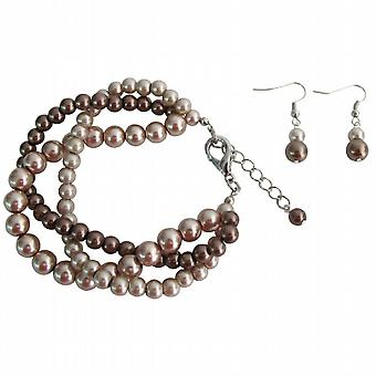 Wedding Jewelry Twisted Pearl Mocha Three Strand Bracelet Earrings Set