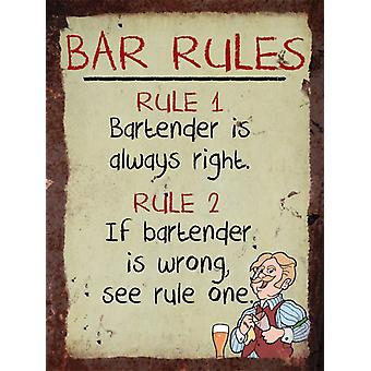 Vintage Metal Wall Sign - Bar Rules
