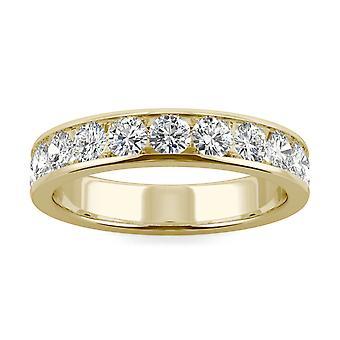 14K amarillo oro Moissanite por Charles & Colvard 3mm alrededor de la venda de la boda, 1.10cttw rocío