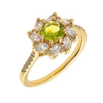 Bertha Juliet Collection Women's 18k YG Plated Light Green Flower Fashion Ring Size 8