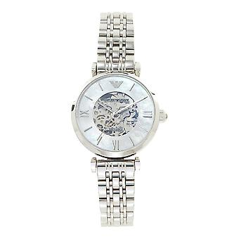 Armani Watches Ar1991 Silver Stainless Steel, Mother Of Pearl Automatic Ladies Watch