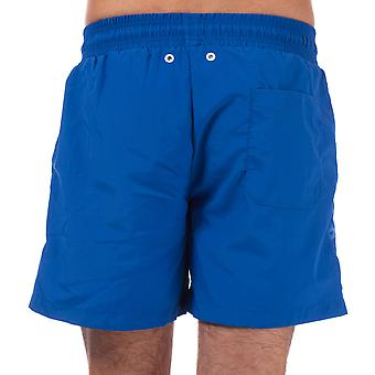 Mens Weekend Offender Barios Swim Shorts In Blue-Ribbed Waistband-Taschen To