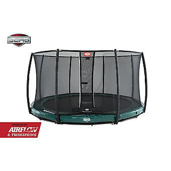BERG InGround Elite 380 12.5ft Trampoline + Safety Net Deluxe Green
