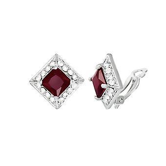 Eeuwige collectie pracht Ruby Crystal & Diamante zilveren Toon Stud Clip op oorbellen