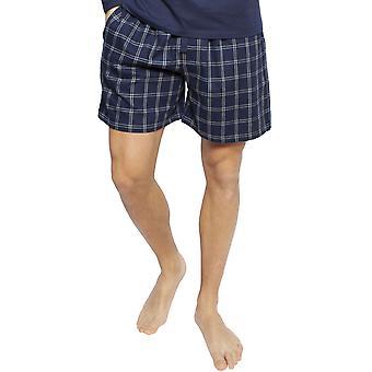 Cyberjammies 6399 mannen ' s Harper Navy Blue mix check katoen pyjama short