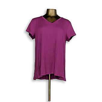 H by Halston Women's Top Essentials V-Neck Tee Purple A306231 #1