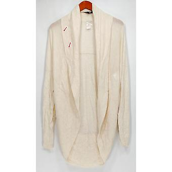 H de Halston Sweater Shawl Collar Manga Larga Cocoon Ivory A269445
