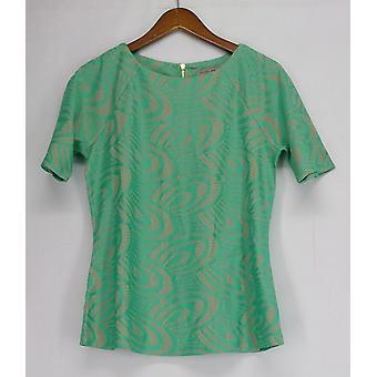 George Simonton Top Novelty Crochet Knit Short Sleeve Green A262236