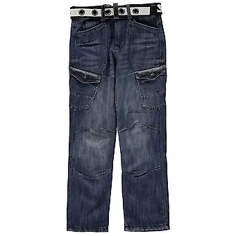 Airwalk Boys Belted Cargo Jeans Hose Bottoms Hose Junior