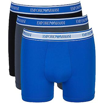Emporio Armani Fashion Multipack Cotton Stretch 3-Pack Boxer Brief, Grey / Black / Wave Blue, X Large