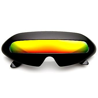 Futuristische Cyclops Neon Schild Farbe Spiegel Objektiv Wrap Sonnenbrillen