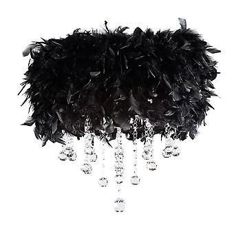 Diyas Ibis Ceiling With Black Feather Shade 3 Light Polished Chrome / Crystal