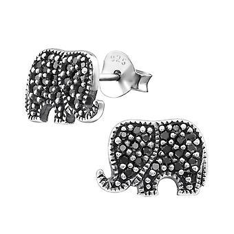 Elephant - 925 Sterling Silver Cubic Zirconia Ear Studs - W30796X