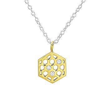 العسل -- 925 الاسترليني الفضة المرصعة بالجواهر القلائد -- W38438x