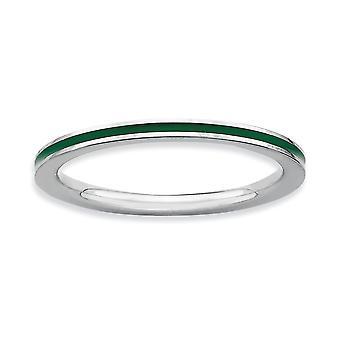 925 Sterling Argento Lucido Impilabile Espressioni Verde Smaltato 1.5mm Anello Gioielli Regali per Le Donne - Anello Dimensione: da 5 a 1