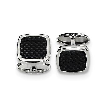 Stainless Steel Polished Carbon Fiber Cuff Links Jewelry Gifts for Men