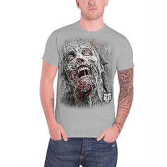 The Walking Dead T Shirt Mens Jumbo Walker Face Zombie new grey Official