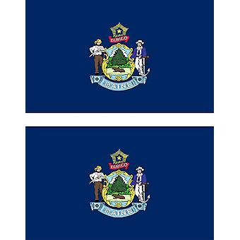 2 X Sticker Sticker Car Moto Vinyl Macbook Flag USA American Maine