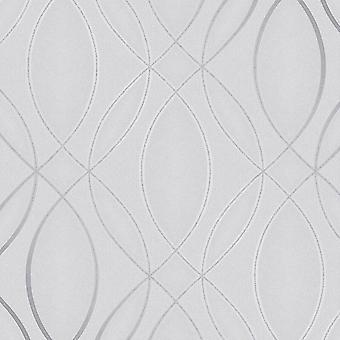 Pulse Ogee Wave Wallpaper Silver / Grey Fine Decor FD42337