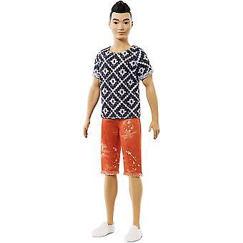 Barbie Ken Fashionistas Muñeca Camisa Geométrica y Naranja Rodilla Longitud Pantalones Cortos