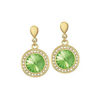 Wieczna kolekcja Viva Peridot Green Crystal Gold Tone Drop Screw Back Clip na kolczyki