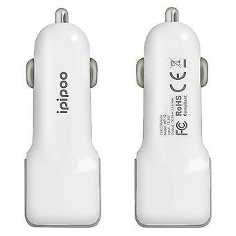 Auto laturi 2x 2.4 A USB-portit Nopea & turvallinen lataus-XP12-Ipipoo, valkoinen