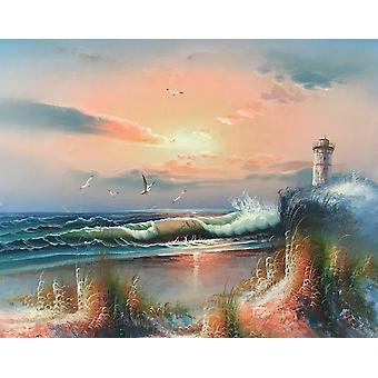 Fyren på havet, handmålad oljemålning på trä, 40x50 cm