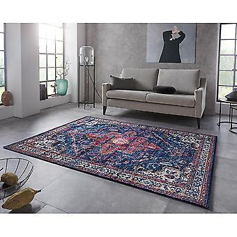 Oriental Design Short Floral Rug Azrow Midnight Blue