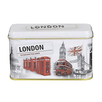 London scenes tea tin with 10 english breakfast teabags