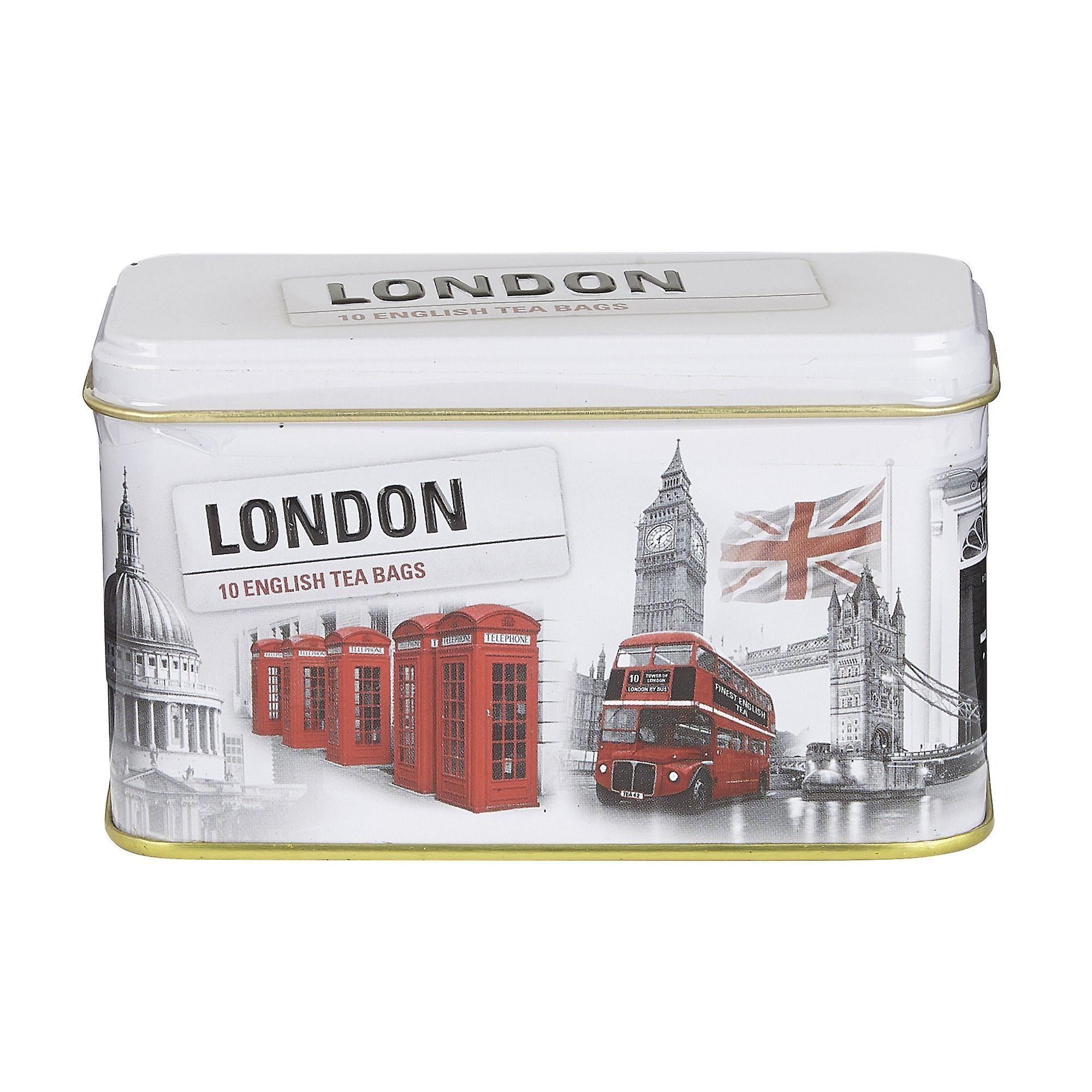 Black and white iconic london scenes tea tin 10 teabags