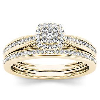 Igi certifierad 10k gult guld 0,25 ct diamant vigselring förlovningsring set