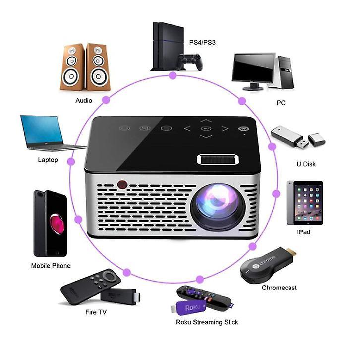 Stuff Certified® T200 LED Projector & Tripod - Mini Beamer Home Media Player Black