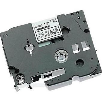 Prestige kaseta™ kompatybilny tz135 biały na przezroczystych taśmach etykietowych (12mm x 8m) do drukarek etykiet y tz brother p-touch